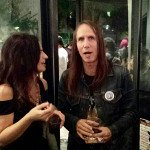 Bev Hogue chats with LA artist Johnny Coffin at Tura exhibit at Lethal Amounts gallery, December 2014.