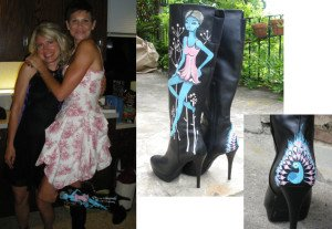 Tanya modelling her boots with Bev Hogue design