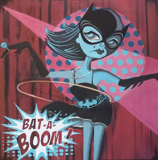 "Go-Go girls hit the Bat Cave dance floor in this Bev Hogue creation called ""Bat-A-Boom"