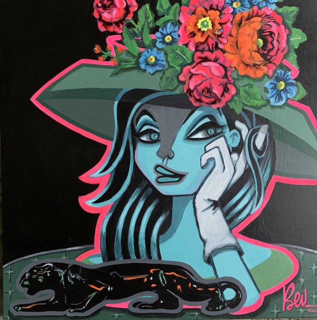 Night Shade, a Bev Hogue original blue art painting and NFT